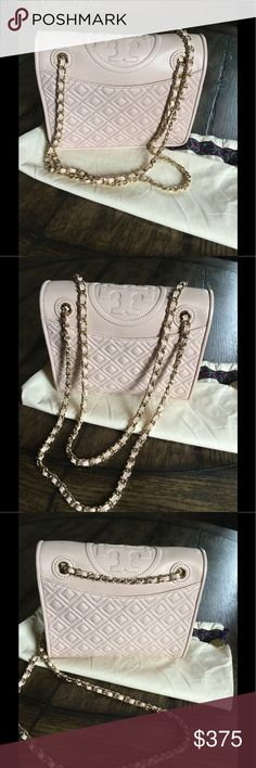 "Tory Burch medium Fleming shoulder/crossbody bag Tory Burch Fleming light oak shoulder/ crossbody bag.  Only worn once so it is in perfect condition, no marks pr scratches.  It measures 9""x7""x3.5"".  It is a beautiful blush color! Tory Burch Bags"
