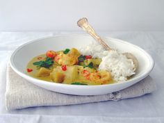 Fragrant, spicy and comforting sea bass, prawn and sweet potato green curry