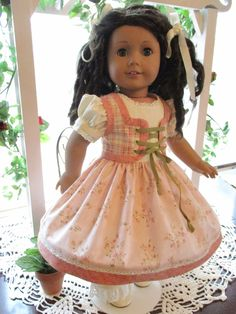 """Historic 18"""" Doll Dress to fit your 18"""" American Girl Doll in Soft Peach or Pink Prints by Emmakate0 on Etsy"""