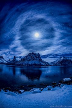 Lunar Halo, Norway, by Kenneth Skulbru, on 500px.