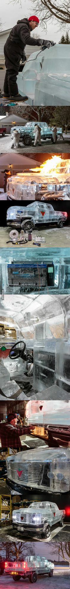 Canada Now Has a Truck Made of Ice, Because Water Is a Solid in Canada.  Made by ICE CULTURES of Hensall Ontario