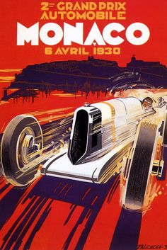 """1930 MONACO CAR RACE GRAND PRIX FINE 8"""" X 10"""" VINTAGE POSTER REPRO FREE SHIPPING in Art, Art from Dealers & Resellers, Posters 