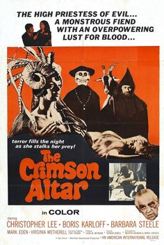 Curse of the Crimson Altar (1968) Stars: Boris Karloff, Christopher Lee, Mark Eden, Barbara Steele, Michael Gough ~ Director: Vernon Sewell