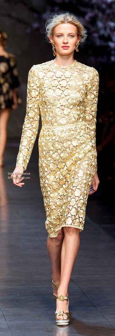 Dolce & Gabbana Spring 2014 | golden | sheath | long-sleeve | guipure lace cocktail dress | high fashion
