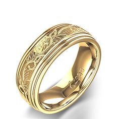 men's vintage gold wedding bands | Vintage Scroll Design Men's Wedding Ring in 14k Yellow Gold ...