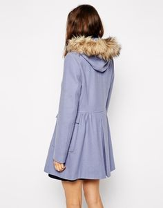 Enlarge ASOS Faux Fur Hooded Duffle Coat