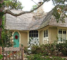 ~Marchen-Haus (means Fairytale House)~ a cottage in Carmel, CA. Recently renovated & brought back to life. Look at that unusual chimney! I love the turquoise door~