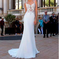 Fashion Illusion Mesh Lace Appliques Mermaid Wedding dress with court train.**Rush order please contact us ** Processing time business day after payment . Best Wedding Dresses, Cheap Wedding Dress, Bridal Dresses, Lace Mermaid Wedding Dress, Dress Lace, Lace Applique, Dress For You, Appliques, Illusion