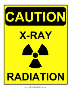 Decorated with a radiation symbol, this yellow Caution sign notifies staff that the X-Ray lab is in use. Free to download and print