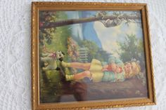 Vintage Cottage Picture Child Carrying Teddy Bear & by PeggysTrove, $24.00