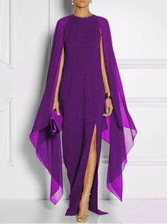 Solid Chiffon Cape Sleeve High Slit Dress