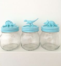 I've seen this one around and I've been excited to try it. Here is my version of a DIY Dinosaur Mason Jar. Imagine filling these with yogurt...