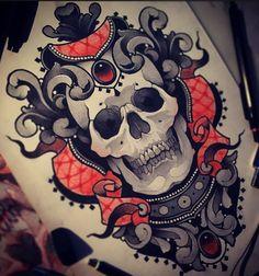 Эскиз тату с черепом в стиле Neo Traditional