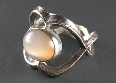 Peach Moonstone and Sterling Silver Ring by gerardscottdesigns, $95.00