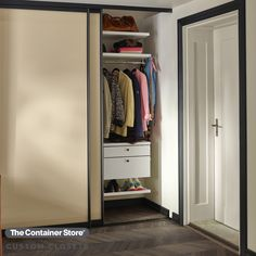 Give your entryway coat closet some pizzazz with Elfa Decor. Contact us today for a FREE custom design! Entryway Organization, Life Organization, Organizing, Reach In Closet, Hat Storage, Custom Shelving, Closet Shelves, Custom Closets, Closet System