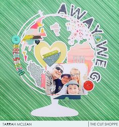 Hi Cut Shoppe fans, It's Tarrah McLean back with you and today I am sharing a new layout using the gorgeous Away We Go cut file . Travel Scrapbook, Scrapbook Pages, Away We Go, Green Backgrounds, Paper Background, Scrapbooking Layouts, Cutting Files, Road Trip, Fancy