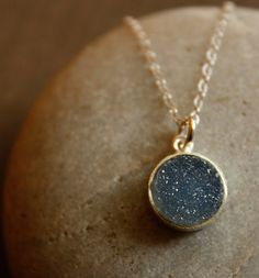 Black and Charcoal Grey Agate Druzy Necklace  Stardust by OhKuol, $39.00