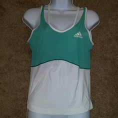 Adidas Medium Green And White Active Tank Top This is a nice tank top from Adidas that is green and white, has double shoulder straps and a mesh back.  This tank top is stretchy and has a built in bra.  This is size medium. #adidas #active #tanktop #medium Adidas Tops Tank Tops
