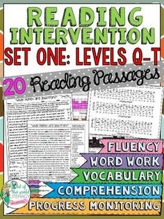 Reading Intervention Program for Fountas and Pinell Levels Q-T! This resource includes daily intervention lessons for a month! It includes 20 fluency passages, targeted comprehension, word work, and vocabulary for each day. It also includes progress monitoring line graphs, bar graphs, and so much more!! ($)