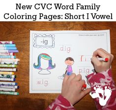 FREE New CVC Word Family Coloring Pages: Short I Vowel: -ig, -in, -ip, -it - 3Dinosaurs.com