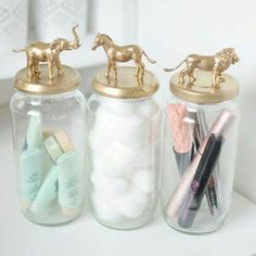 A gold animal jar diy tutorial perfect for storing your beauty items and recycle your old jars and tins. Uses simple materials and very quick. ** Check this useful article by going to the link at the image. Cute Room Decor, Cute Room Ideas, Room Decor Diy For Teens, Teen Bathroom Decor, Diy Room Decor Tumblr, Bathroom Cost, Gold Room Decor, Girl Bathrooms, Teen Decor