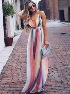 Stripe maxi summer dress in 2019 dresses vestidos, vestidos Backless Maxi Dresses, Striped Maxi Dresses, Sexy Dresses, Casual Dresses, Summer Maxi Dresses, Vacation Dresses, Formal Outfits, Red Maxi, Summer Outfits