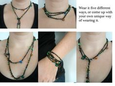 Necklace - Crochet Multi-Wear: This crocheted necklace is long enough to be worn as a double-wrapped necklace, a choker, a lariat or wrapped several times around your wrist as a bracelet.