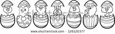 Black and White Cartoon Illustration of Six Little Chickens or Chicks and one Easter Bunny in Colorful Eggshells of Easter Eggs for Coloring...