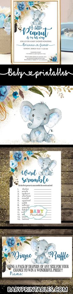 The little peanut baby shower decorations, games and invitations feature an adorable baby boy elephant against a white backdrop decorated with a beautiful watercolor floral arrangement in blue accents and boho feathers over a fine sprinkle of faux gold powder. #babyshowergames #babyshowerinvitations #elephants #babyshowerideas