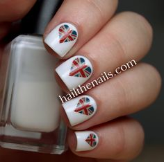 Union Jack ♔ Heart Nail Art