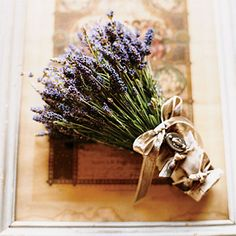 Lavender Bride's Bouquet with Velvet. The bride's bouquet is made entirely of lavender, one of her favorite flowers and fragrances. %u201CI grow lavender in my garden and love everything about it,%u201D says Elizabeth.