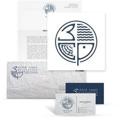 A blue logo & brand identity pack design created by Mijat12 for Third Coast Provisions. The design cleverly interposes this upscale seafood restaurant's initials with maritime imagery and nautical colors. #logo #blue #restaurant