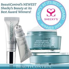 BeautiControl's products are winners once again! This time for Best Night Cream AND Best Eye Cream! Shecky's announced the winners of the 2013 Beauty at its Best Awards - BC Spa Facial Defend & Restore Ultra-Rich Night Creme and Regeneration Tight, Firm & Fill Extreme Eye Complex join the rest of our winners for four years running! #skincare