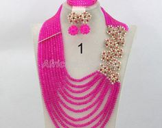 Hot Pink Gorgeous Crystal Beads Necklace Set,African Wedding Beaded Jewelry,Nigerian Beads Necklace Set,African Wedding Jewelry Set-CG1002