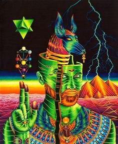 Anubis Rising is a high quality archival print of an original ink illustration. Inspired by Ancient Egypt, pop and psychedelic art. It was drawn using Faber-Castell Pitt Artist Pens on paper. Art Lsd, Art Hippie, Art Visionnaire, Psychadelic Art, Ouvrages D'art, Paper Illustration, Visionary Art, Surreal Art, Fine Art Paper