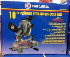 """King Canada Tools 8324N 10  COMPOUND MITRE SAW WITH LASER Scie à Onglets 10"""""""