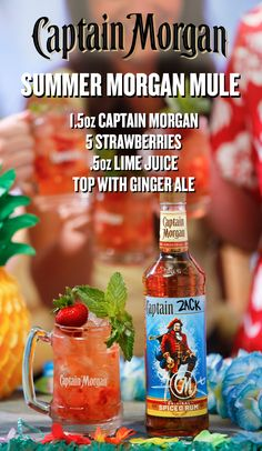 The Morgan Mule is mixing up something fresh this summer–and trust us, it's berry good. For a twist on our classic Mule recipe, muddle 5 strawberries in a glass. Add 1. 5 oz Captain Morgan Original Spiced Rum, 0.5 oz lime juice, and stir. Top with ginger beer, garnish with strawberry and mint, and get back to partying Like a Captain with the Summer Morgan Mule. Looking for this bottle? Check your local liquor store for our limited release custom labels.