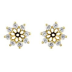 0.1 ct. tw. G-H,I2-I3 10k Gold Chandelier Earring Jacket with Diamonds and Ruby