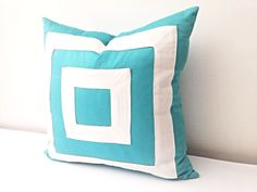 "#Aqua Striped Throw #Pillow Cover 18"" by 18"", #Turquoise #Cushion Cover"