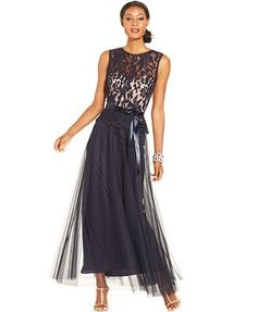 Xscape Illusion Lace Belted Peplum Gown
