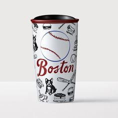 Boston Double Wall Traveler. A double-walled collectible ceramic mug depicting the many things you love about Boston.