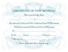 Vow Renewal Certificate Free Printable