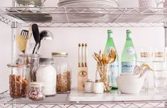 How to Style Wire Shelves for a Living Space or Kitchen // styling by @Alaina Marie Kaczmarski // kitchen styling // storage // shelving // food storage // photography by Jennifer Kathryn