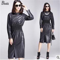 US  38.0  HQ Schwarz Herbst Winter Mode Frauen Klassischen Kleid Damen Pu  leder kleid lange hülse Sexy Party frauen casual knie länge Kleid in HQ  Schwarz ... 16b4db64eb