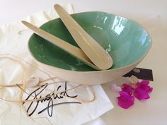 large salad ceramic bowl Cream and turquoise bowl Open bowl Salad bowl ,Elegant modern fruit bowl ,Ceramic serving bowl for vegeterian, Bowl by IngridDebardCeramics on Etsy