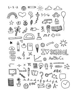 INSTANT DOWNLOAD - School Days Clipart Set - Hi Res Printable School & Teacher Doodle Illustrations,