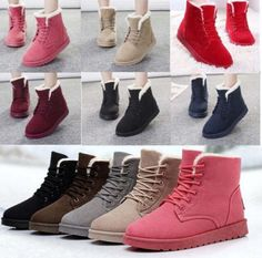 Women's Flat Lace Up Fur Lined Winter Martin Boots Snow Ankle Boots Shoes  #Handmade #AnkleBoots