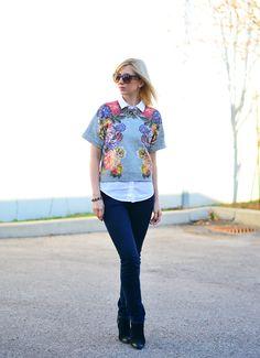 Autumn Flowers: Styling Casual Sweatshirt.