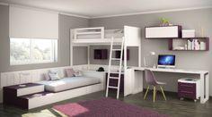 Habitación infantil con camas cruzadas; litera y cama nido inferior