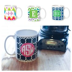 Monogrammed coffee cups! Great gift idea!